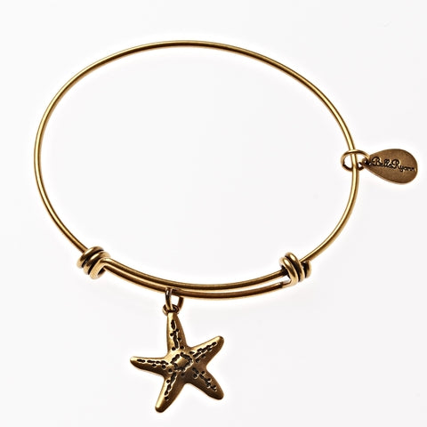 Starfish Expandable Bangle Charm Bracelet in Gold - BellaRyann