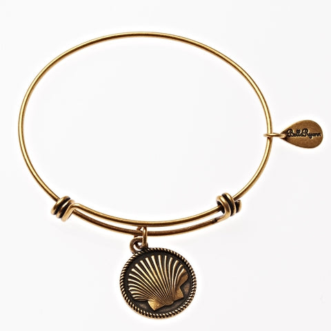Seashell 1 Expandable Bangle Charm Bracelet in Gold - BellaRyann
