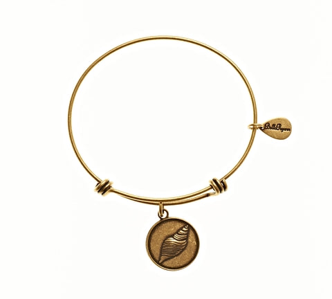 Seashell 2 Expandable Bangle Charm Bracelet in Gold