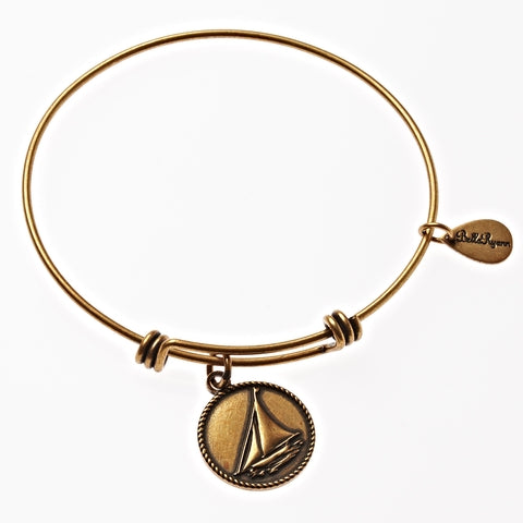 Sail Boat Expandable Bangle Charm Bracelet in Gold - BellaRyann