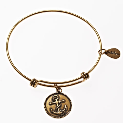 Anchor Expandable Bangle Charm Bracelet In Gold - BellaRyann