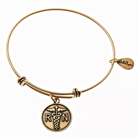 Nurse RN Expandable Bangle Charm Bracelet in Gold