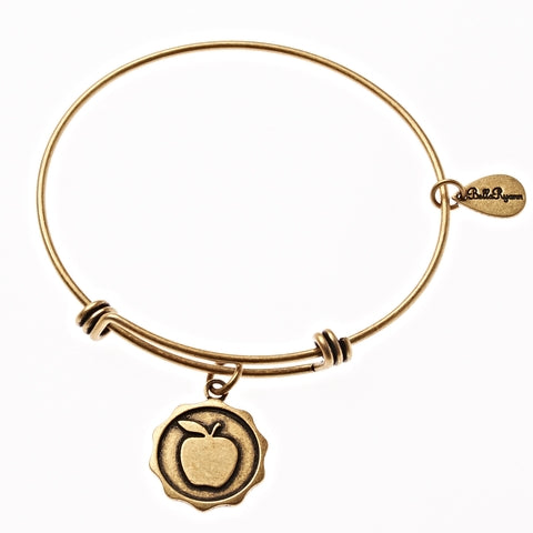 Apple Expandable Bangle Charm Bracelet in Gold - BellaRyann