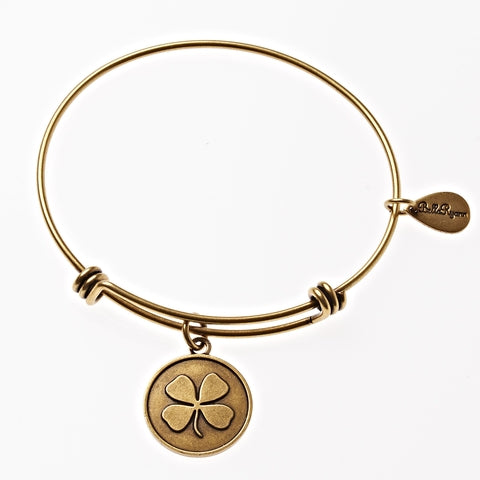 Four Leaf Clover Expandable Bangle Charm Bracelet in Gold - BellaRyann