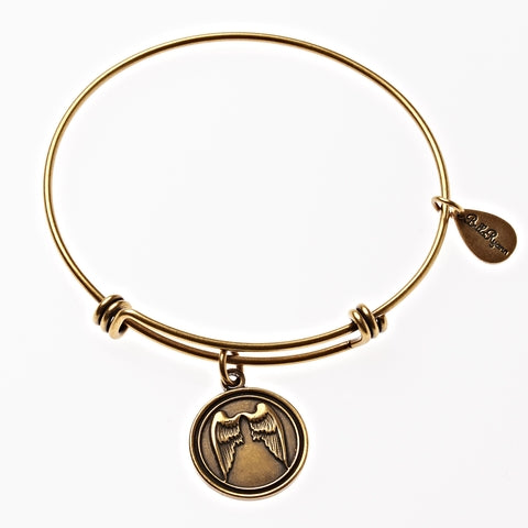Angel Wings Expandable Bangle Charm Bracelet in Gold - BellaRyann
