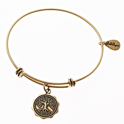 Tree of Life Expandable Bangle Charm Bracelet in Gold