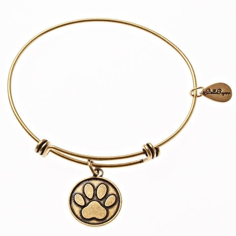 Dog Paw Print Expandable Bangle Charm Bracelet in Gold - BellaRyann