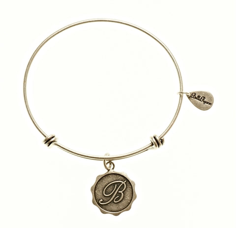 Letter B - Expandable Bangle Charm Bracelet in Silver - BellaRyann
