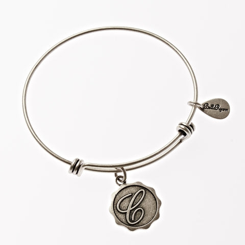 Letter C - Expandable Bangle Charm Bracelet in Silver - BellaRyann
