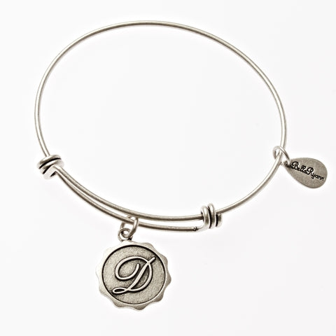 Letter D - Expandable Bangle Charm Bracelet in Silver - BellaRyann
