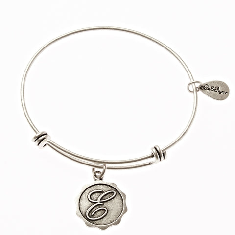 Letter E - Expandable Bangle Charm Bracelet in Silver - BellaRyann