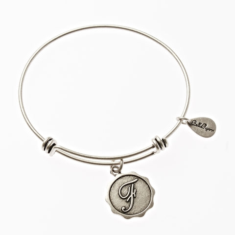 Letter F - Expandable Bangle Charm Bracelet in Silver - BellaRyann