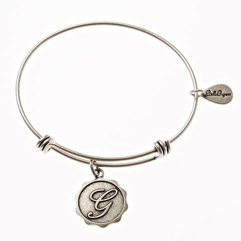 Letter G - Expandable Bangle Charm Bracelet in Silver - BellaRyann