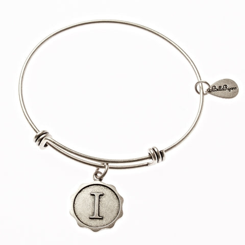 Letter I - Expandable Bangle Charm Bracelet in Silver - BellaRyann