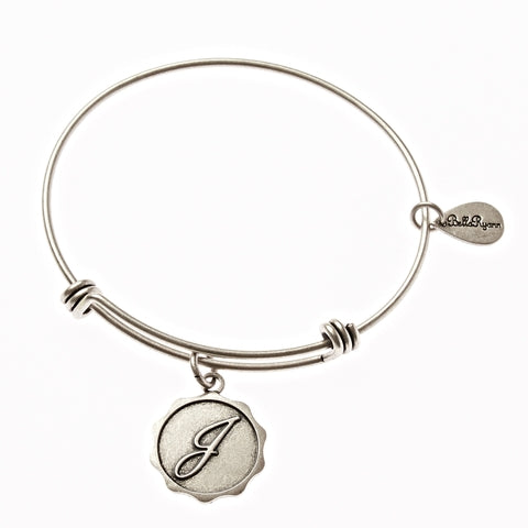 Letter J - Expandable Bangle Charm Bracelet in Silver - BellaRyann