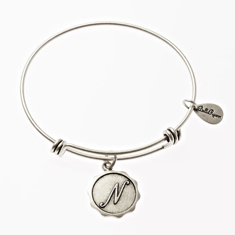 Letter N - Expandable Bangle Charm Bracelet in Silver - BellaRyann