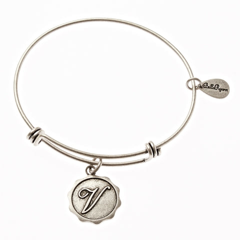 Letter V - Expandable Bangle Charm Bracelet in Silver - BellaRyann