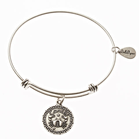 Cancer Zodiac Expandable Bangle Charm Bracelet in Silver - BellaRyann