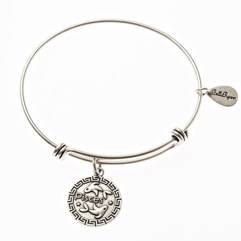 Pisces Zodiac Expandable Bangle Charm Bracelet in Silver