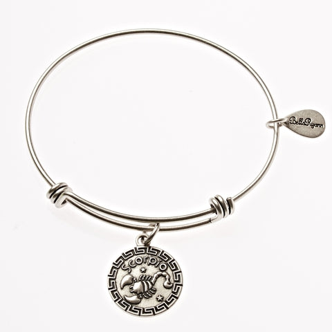 Scorpio Zodiac Expandable Bangle Charm Bracelet in Silver - BellaRyann