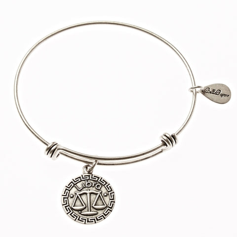 Libra Zodiac Expandable Bangle Charm Bracelet in Silver - BellaRyann