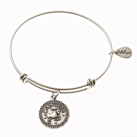 Capricorn Zodiac Expandable Bangle Charm Bracelet in Silver - BellaRyann