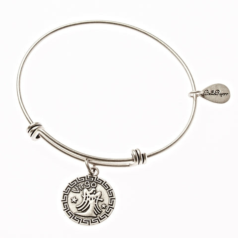 Virgo Zodiac Expandable Bangle Charm Bracelet in Silver