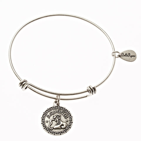 Aquarius Zodiac Expandable Bangle Charm Bracelet in Silver - BellaRyann