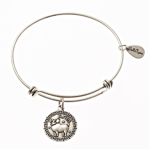Aries Zodiac Expandable Bangle Charm Bracelet in Silver - BellaRyann