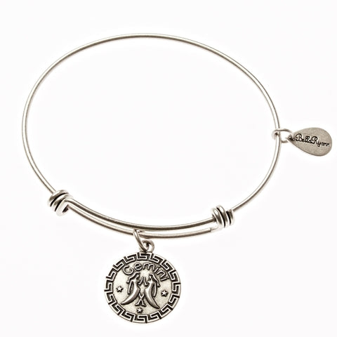 Gemini Zodiac Expandable Bangle Charm Bracelet in Silver - BellaRyann
