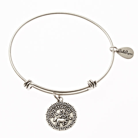 Sagittarius Zodiac Expandable Bangle Charm Bracelet in Silver