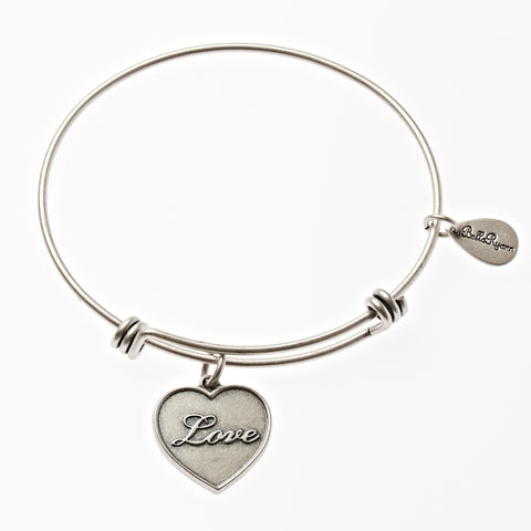Love Expandable Bangle Charm Bracelet in Silver