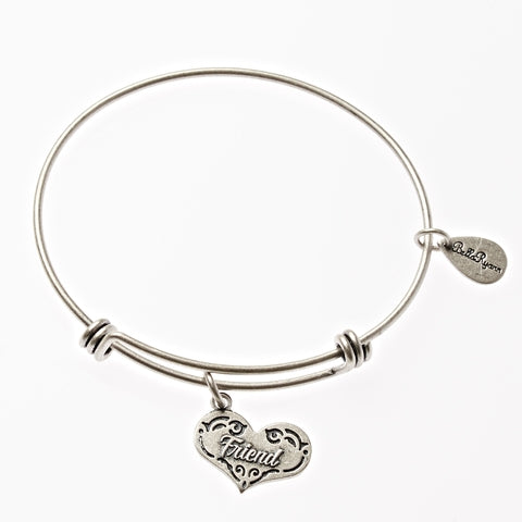 Friend Expandable Bangle Charm Bracelet in Silver - BellaRyann