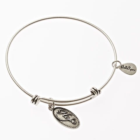 Hope Expandable Bangle Charm Bracelet in Silver - BellaRyann