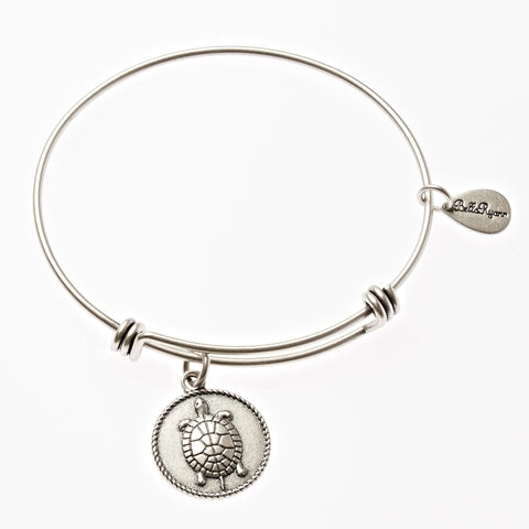 Turtle Expandable Bangle Charm Bracelet in Silver