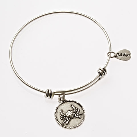 Crab Expandable Bangle Charm Bracelet in Silver - BellaRyann