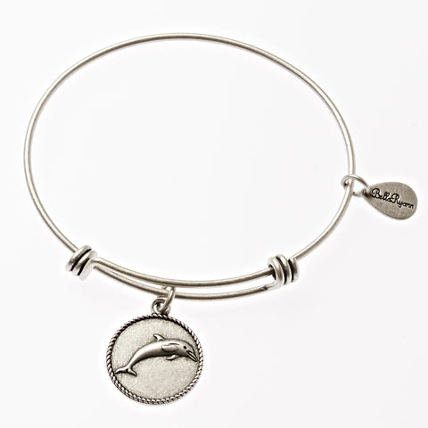 Dolphin Expandable Bangle Charm Bracelet in Silver - BellaRyann