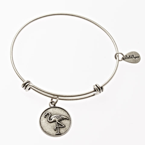 Flamingo Expandable Bangle Charm Bracelet in Silver - BellaRyann