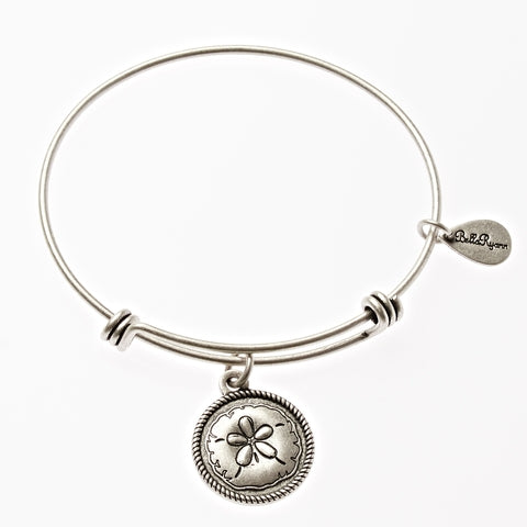 Sand Dollar Expandable Bangle Charm Bracelet In Silver