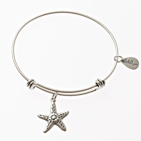Starfish Expandable Bangle Charm Bracelet in Silver