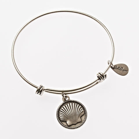 Seashell 1 Expandable Bangle Charm Bracelet in Silver - BellaRyann