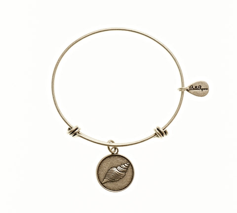 Seashell 2 Expandable Bangle Charm Bracelet in Silver