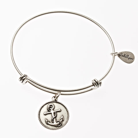 Anchor Expandable Bangle Charm Bracelet in Silver - BellaRyann