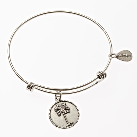 Palm Tree Expandable Bangle Charm Bracelet in Silver