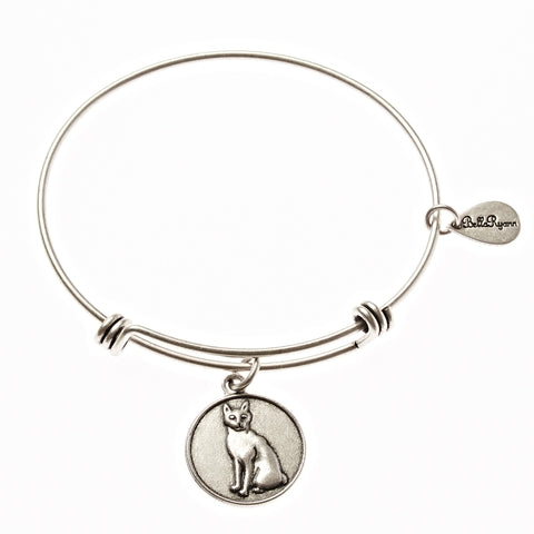 Cat Expandable Bangle Charm Bracelet in Silver - BellaRyann