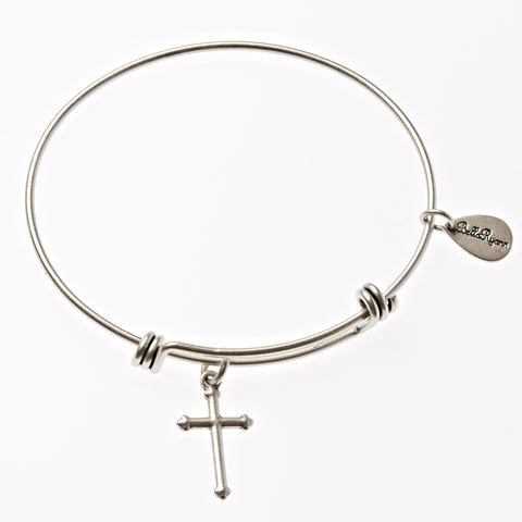 Cross Expandable Bangle Charm Bracelet in Silver - BellaRyann