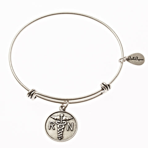 Nurse RN Expandable Bangle Charm Bracelet in Silver