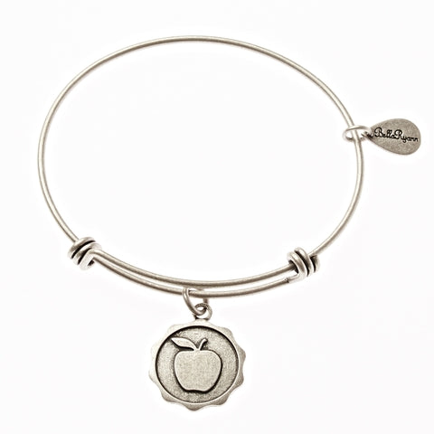 Apple Expandable Bangle Charm Bracelet in Silver - BellaRyann