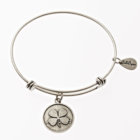 Four Leaf Clover Expandable Bangle Charm Bracelet in Silver - BellaRyann