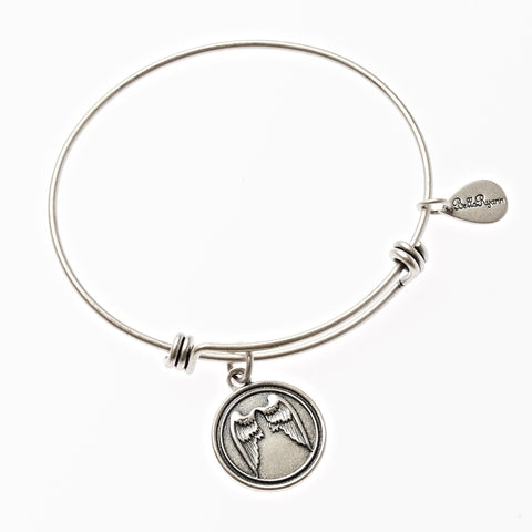 Angel Wings Expandable Bangle Charm Bracelet in Silver - BellaRyann